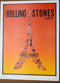 ROLLING STONES - 14 ON FIRE - PARIS - FRANCE - #396/500 -  TOUR POSTER - KEITH RICHARDS