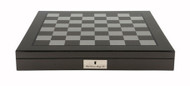 Dal Rossi 50cm Carbon Fibre Finish Chess Board with Storage Compartment