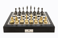 Dal Rossi Luxury Leatherette and Brass Cap Chess Set