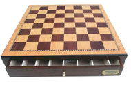 Dal Rossi 45cm Walnut Finish Chess Board with Storage Drawers (Board Only)