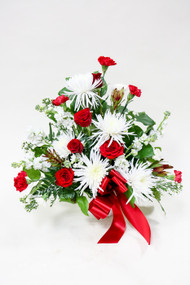 Red and white sympathy tribute