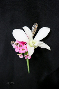 White Orchid, Pink Accent Boutonniere
