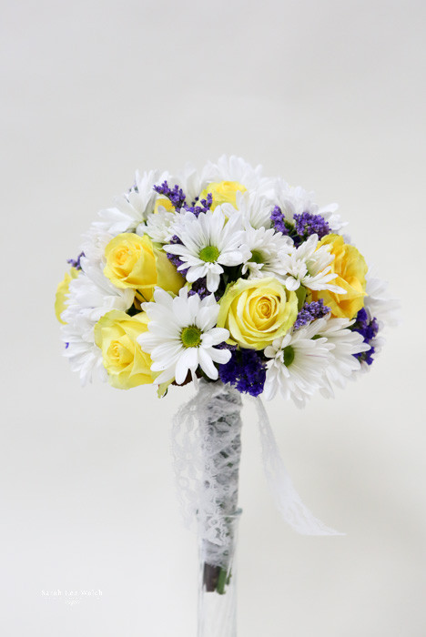 White Daisy and Yellow Rose Bridal Bouquet  Loveland Flowers ...