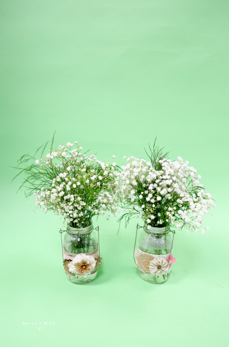 Simple Baby's Breath Mason Jar Wedding Centerpiece with burlap decor