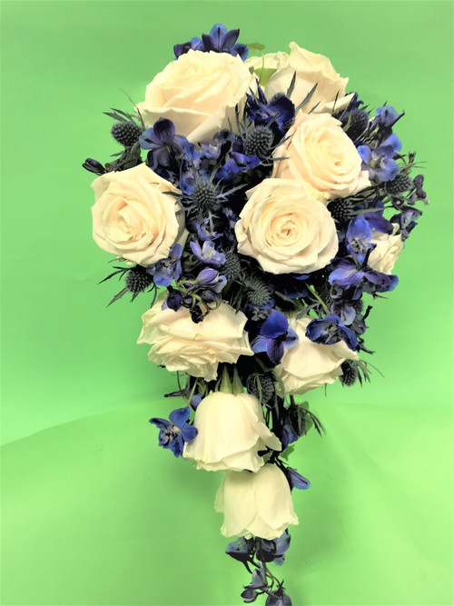 Cascading Blue and White Rose Bridal Bouquet