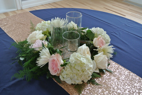 Pink and White rose and hydrangea centerpiece designed locally by Earle's Loveland