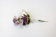Mixed Purple and white wedding Boutonniere