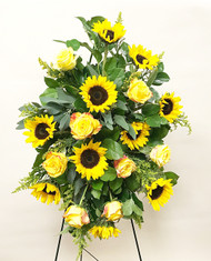 A Beautiful Bold Easel designed with local grown fresh sunflowers