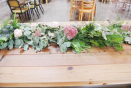 Beautiful Mixed Greens and Floral table runner