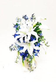 Local Grown lilies paired with beautiful blues. This cascading bridal bouquet is perfect!