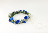 Beautiful Blue and white Flower Crown designed by your Loveland Florist.