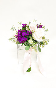 A Beautiful Blush Wedding complimented with Summer! Fresh flower bridesmaid bouquet of mixed flowers in blush, white, and purples