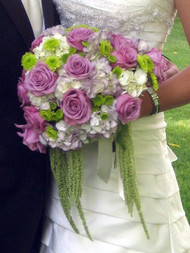 Purple, White and Green Bridal Bouquet