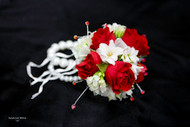 Red and White Corsage with Red Bling on Keepsake Bracelet