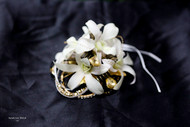 White Orchids with Gold Touches Corsage on Keepsake Bracelet