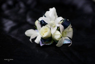 White Orchids and Roses, Black Accent Corsage