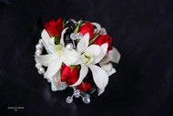 White Orchid, Red Rose with Crystals Corsage on Keepsake Bracelet