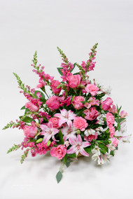 All pink fresh flower sympathy tribute