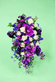 Purple Cascading Bridal Bouquet