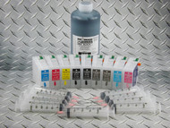 Refillable cartridge kit for Epson Pro 3800 with 9 x refillable cartridges and 1 x 1 liter bottle of Absolute Black ink for making Screen Separations (requires set of chips from original  cartridges)
