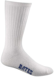 Bates Mens Cotton Duty Crew White 4 Pk Large Socks Made in the USA