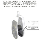 Kolstrand 26 In Power Block Sheave Assembly with Bolt-In Replaceable Rubber Cleats