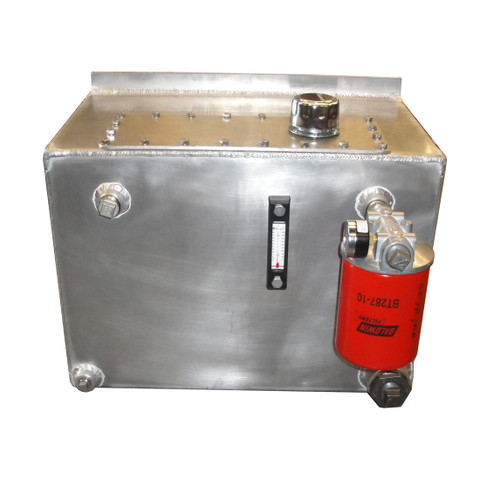 InMac-Kolstrand Aluminum Hydraulic Oil Reservoir-20 Gallon Capacity with Shut-off Valve, Drain Valve, Oil Level & Temperature Gauge, Return Line Filter and Fill and Vent