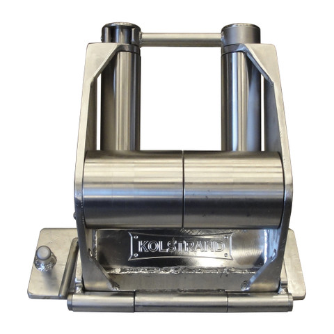 Kolstrand 'CAPTURED-5' RAIL-MOUNT Flip-Style STAINLESS STEEL Seine Davit Roller Assembly WITH FLIP-LINE LOCKING CONTAINMENT BAR