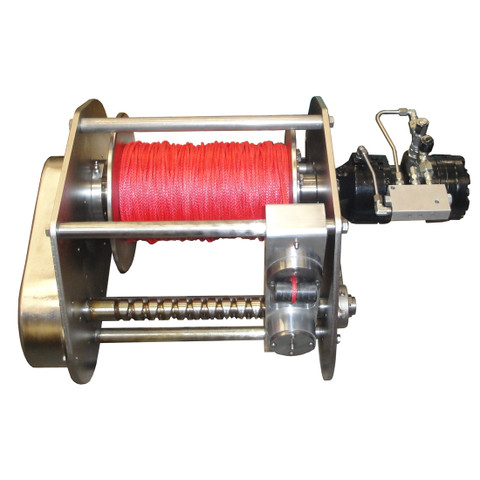 """InMac-Kolstrand AKPW12D12W-SS-CAPLW-BRAKE-RE14 Special Stainless Steel Winch with 'Captured' Diamond Screw Level Wind and Hydraulic Brake Assembly with 500 Feet 3/16"""" Dia Spectra Line"""