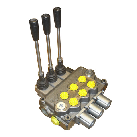 InMac-Kolstrand Furnished Walvoil 3-Spool Friction-Controlled Push-Pull Valve Assembly - WITH CYLINDER SPOOLS - SD11 for 18 GPM Circuits