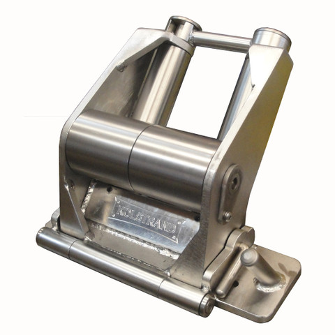 Kolstrand 'CAPTURED-4' RAIL-MOUNT Flip-Style STAINLESS STEEL Seine Davit Roller Assembly WITH FLIP-LINE LOCKING CONTAINMENT BAR for Portside Fishing