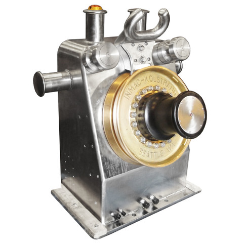 Kolstrand 'Purse Dominator' AKPSW24DDSS-BRZ-DIRECT STAINLESS STEEL Purse Seine Winch equipped with Direct-Drive Piston Motor, with 24 Inch Bronze Sheaves and Stainless Steel Gypsy Head, with E-STOP Emergency Kill Switch Arrangement.