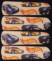 "New HOT WHEELS RACE CARS 42"" Ceiling Fan BLADES ONLY"