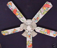 New EXOTIC JUNGLE PARROTS PARROT Ceiling Fan 52""
