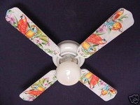 New EXOTIC JUNGLE PARROTS PARROT Ceiling Fan 42""