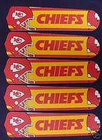 "New NFL KANSAS CITY CHIEFS 52"" Ceiling Fan BLADES ONLY"