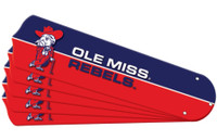 "New NCAA OLE MISS MISSISSIPPI REBELS 52"" Ceiling Fan Blade Set"
