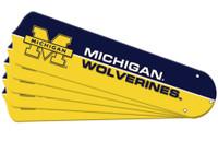 "New NCAA MICHIGAN WOLVERINES 52"" Ceiling Fan Blade Set"