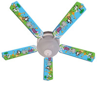 New JUNGLE PARTY ANIMALS Ceiling Fan 52""