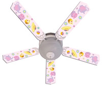 New GIRLS PINK TEA TIME PARTY Ceiling Fan 52""