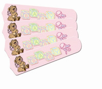 """New BABY NURSERY TOYS BLOCKS PINK 42"""" Ceiling Fan BLADES ONLY"""