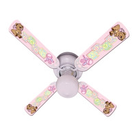 New BABY NURSERY TOYS BLOCKS PINK Ceiling Fan 42""
