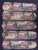 "New HOT ROD CARS DINER 52"" Ceiling Fan BLADES ONLY"