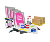 4 Color Supply Kit with Plastisol Inks & Pre-burned Screens