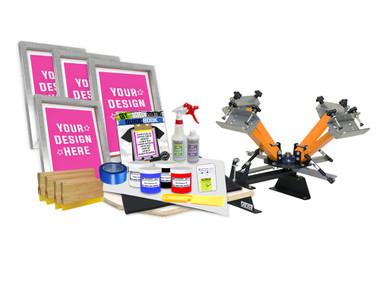 DIY 4 Color Shocker© Semi-Pro Screen Printing Kit with Pre-burned Screens