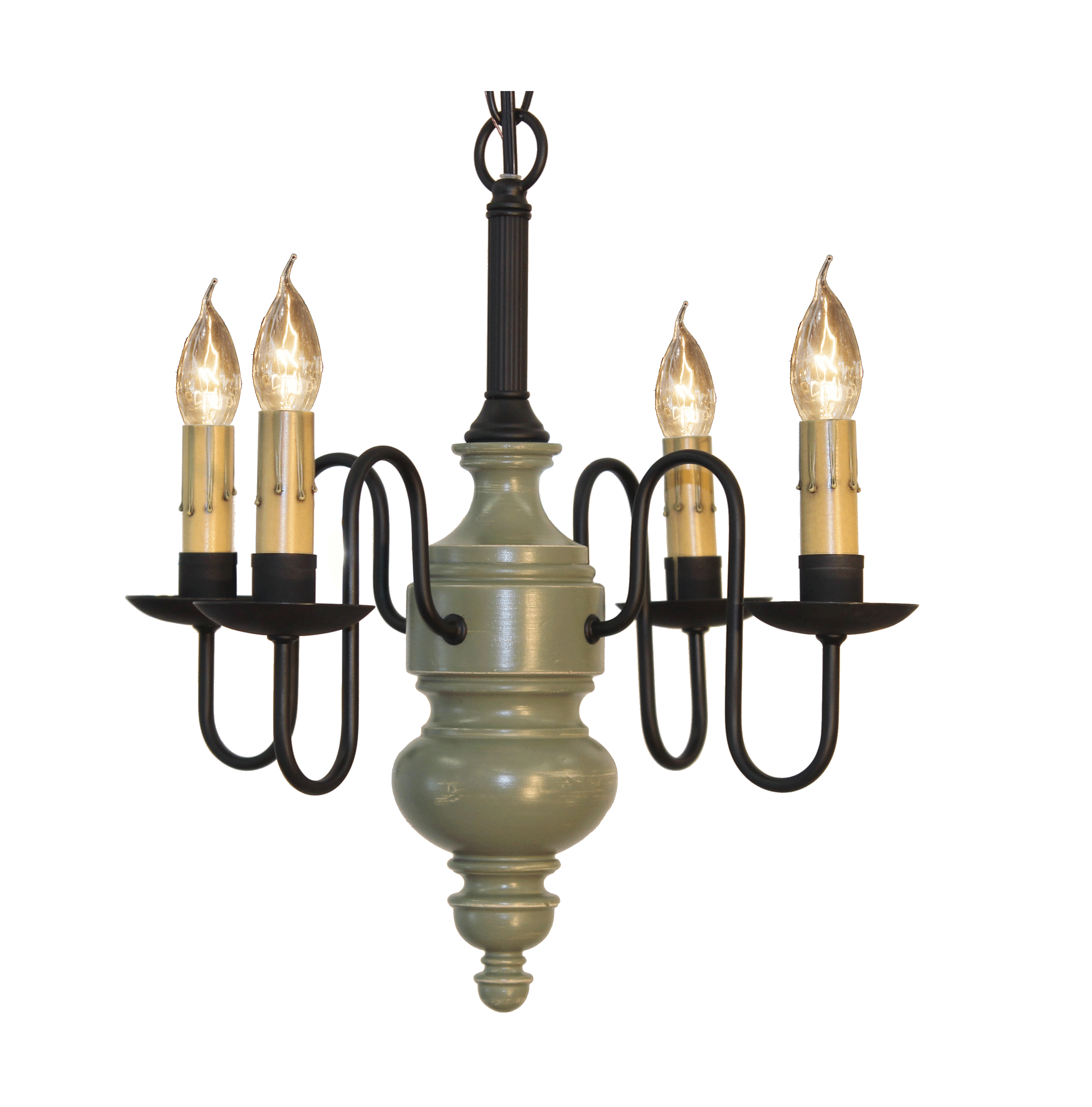 Chesapeake Mini Chandelier Finished In Williamsburg Stone, Tate Olive