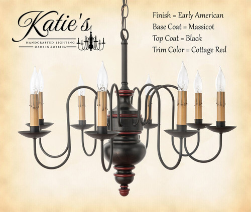 Katieu0027s Handcrafted Lighting Chesapeake Wood Chandelier Pictured In Early American Finish Base Coat Color u003d & Wood Chandeliers - Chesapeake - Katieu0027s Handcrafted Lighting