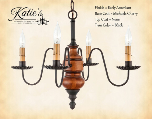 Wood chandeliers frederick mini katies handcrafted lighting katies handcrafted lighting frederick mini wood chandelier pictured in early american finish base coat color mozeypictures Images