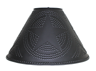 Hand Punched Tin Lamp Shade With Star Design, Finished In Aged Black. Made In USA by Katie's Handcrafted Lighting