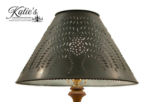 Hand Punched Tin Lamp Shade With Willow Design, Finished In Aged Black.  Made In